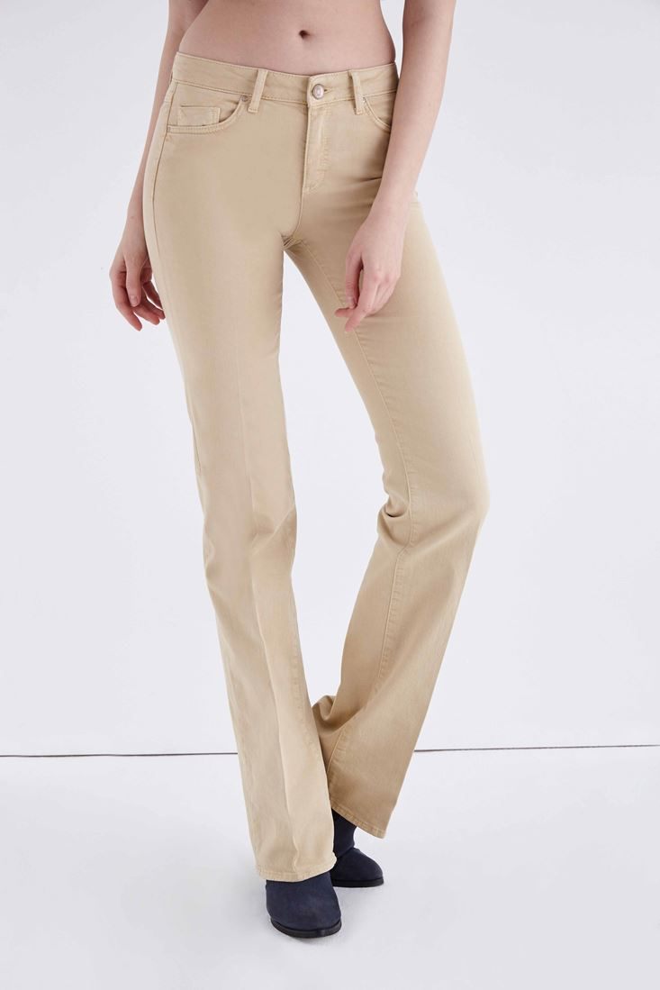 Cream Low Rise Bootcut Pants