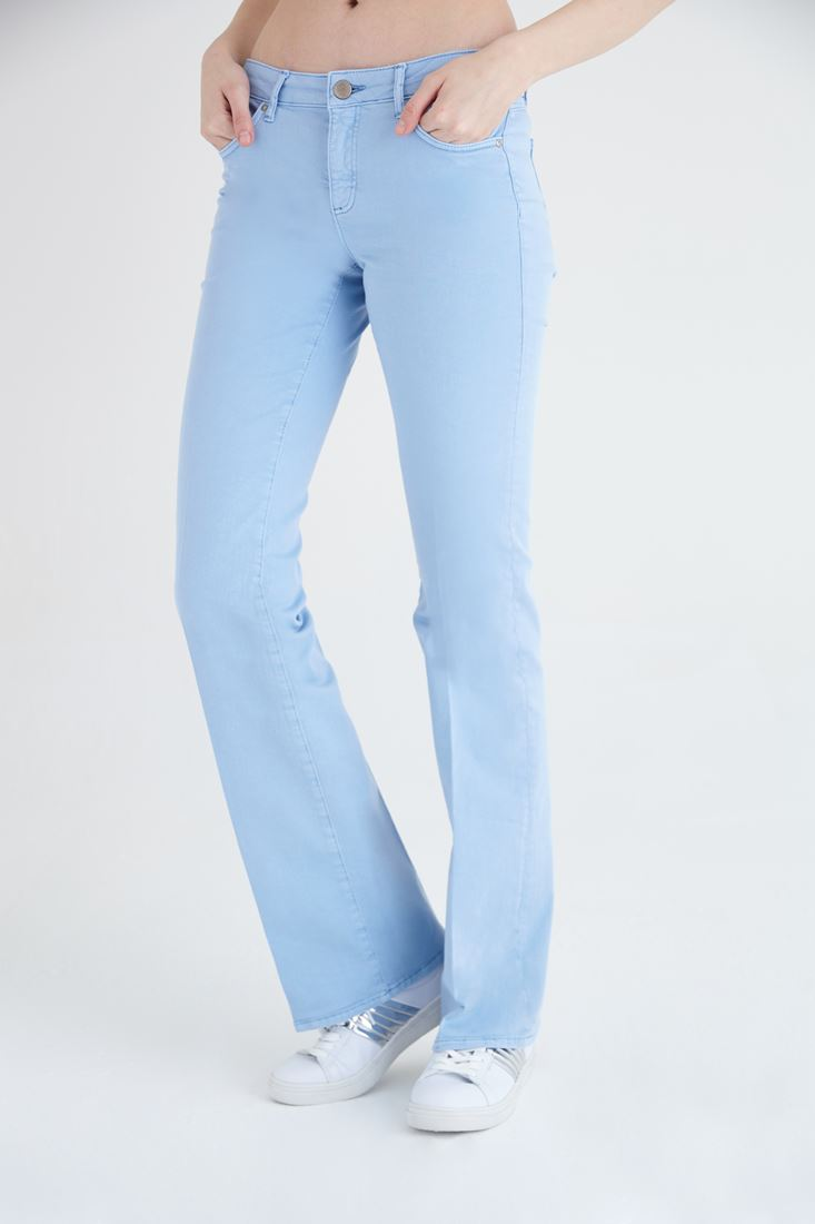 Blue Low Rise Bootcut Pants