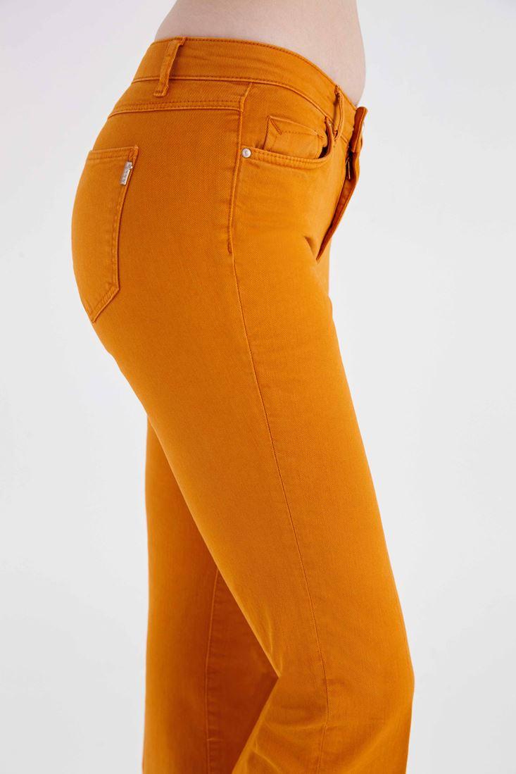Bayan Turuncu Düşük Bel Bot Paça Pantolon