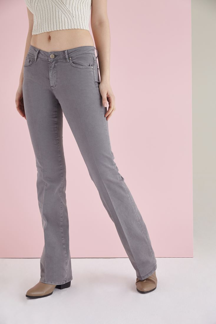 Grey Low Rise Bootcut Pants