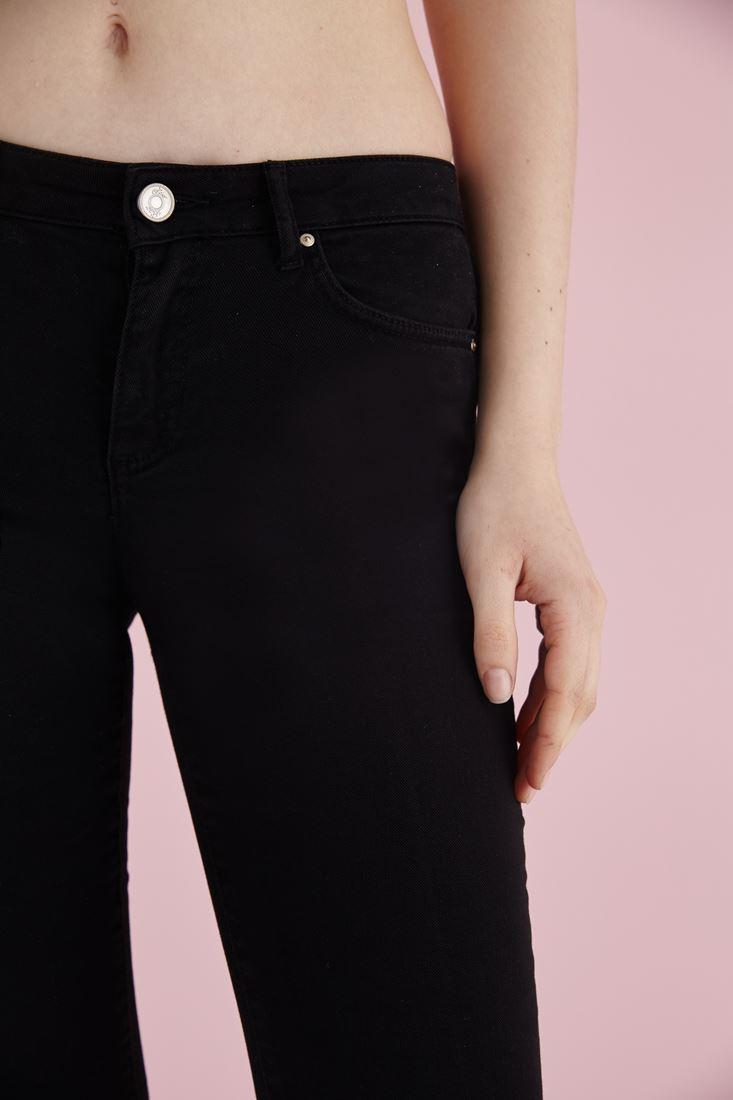 Bayan Siyah Düşük Bel Bot Paça Pantolon