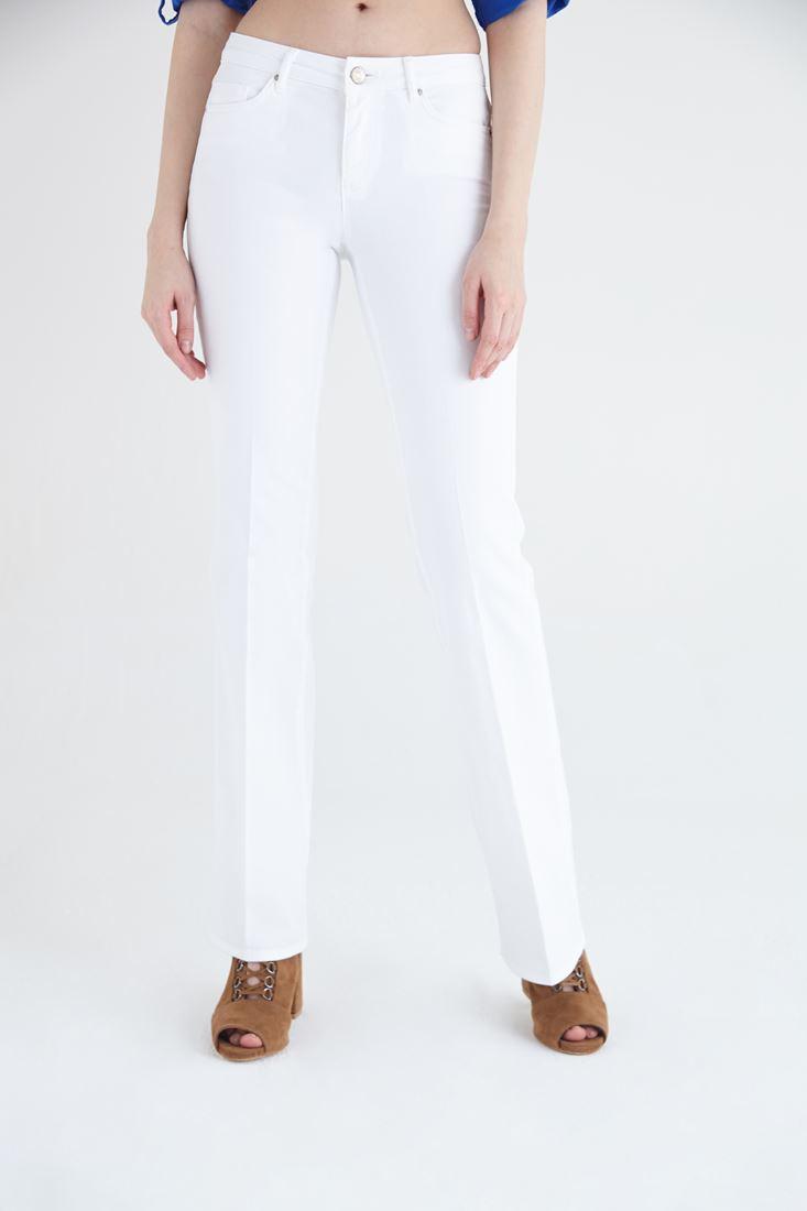 Beyaz Düşük Bel Bot Paça Pantolon
