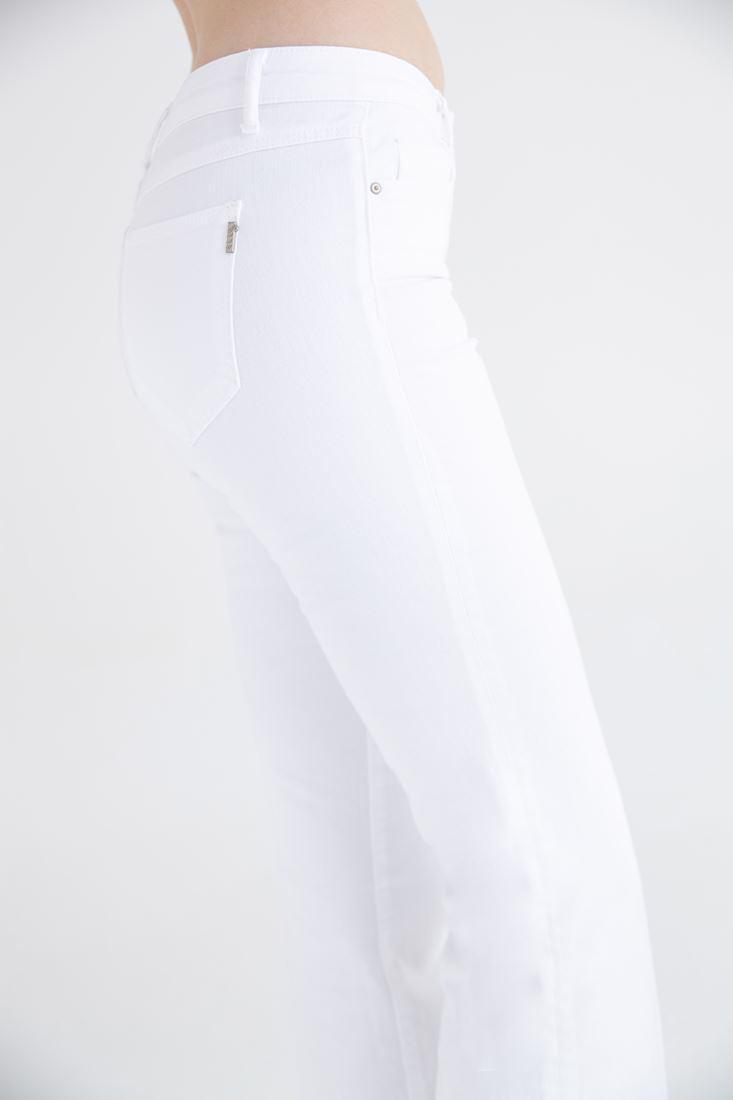 Bayan Beyaz Düşük Bel Bot Paça Pantolon