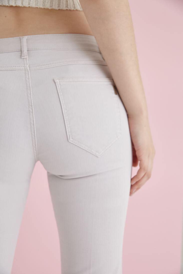 Bayan Gri Düşük Bel İspanyol Paça Pantolon