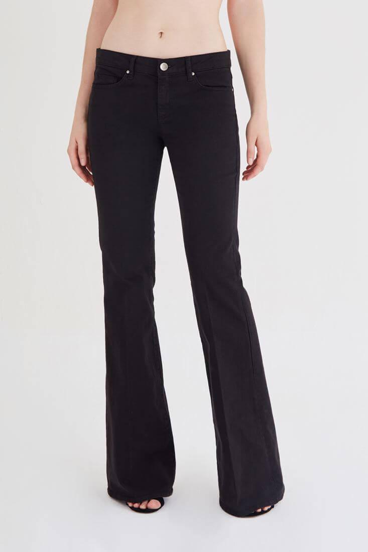Bayan Siyah Düşük Bel İspanyol Paça Pantolon