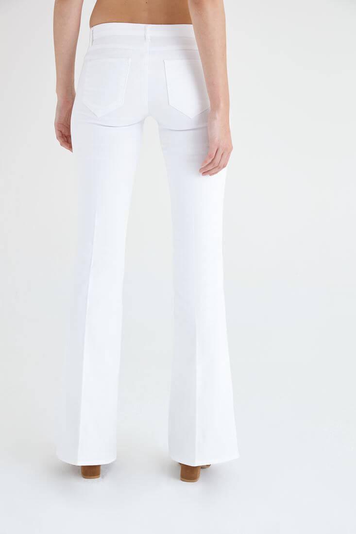 Bayan Beyaz Düşük Bel İspanyol Paça Pantolon