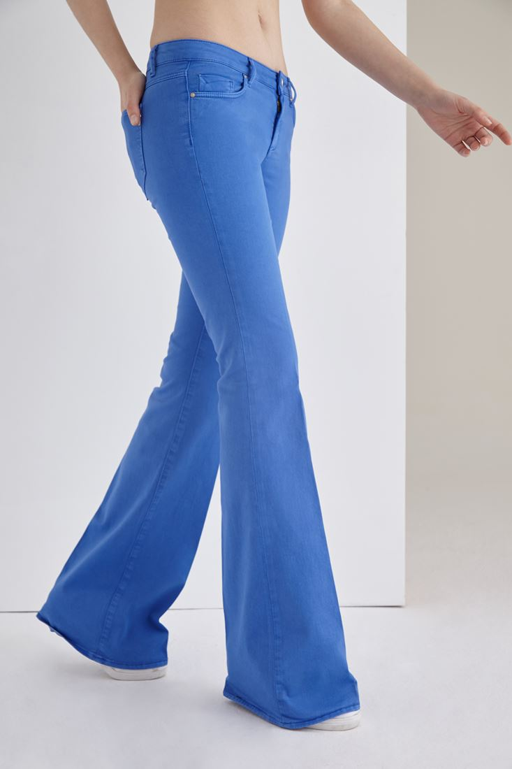 Blue Low Rise Flare Leg Pants