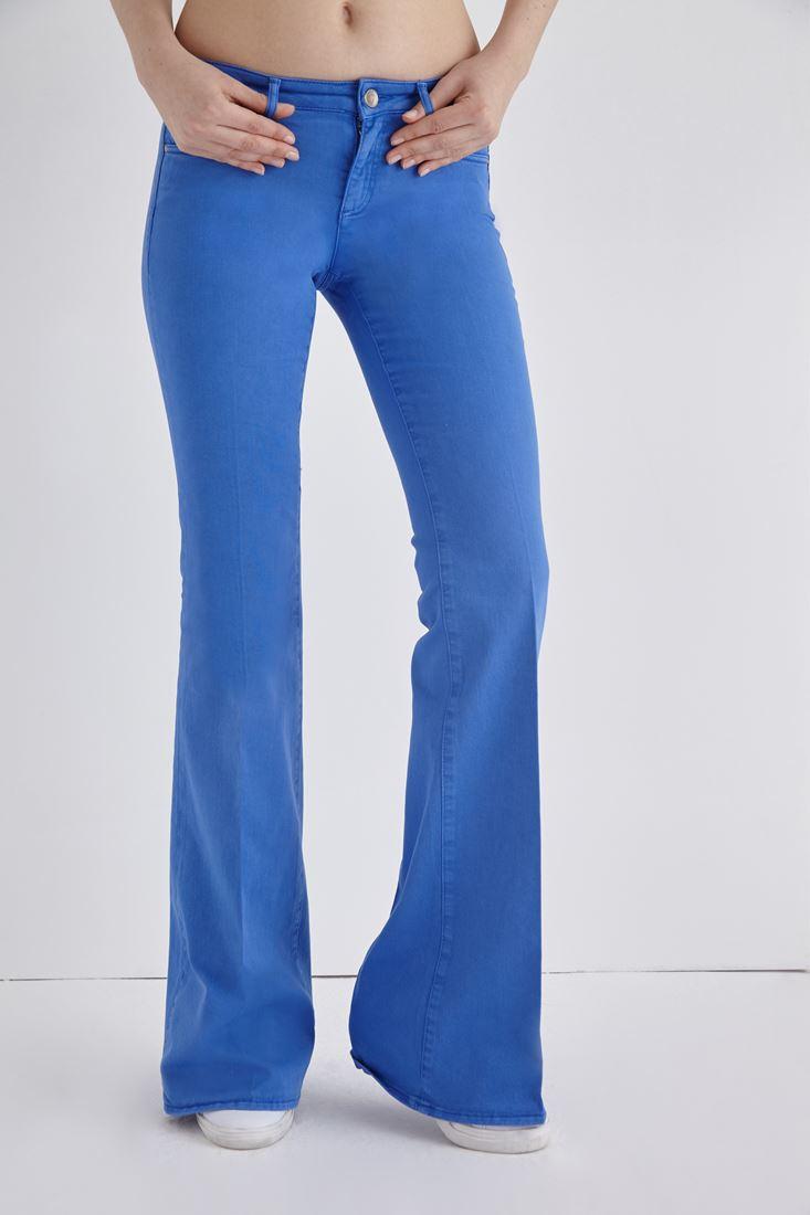 Bayan Mavi İspanyol Paça Düşük Bel Pantolon