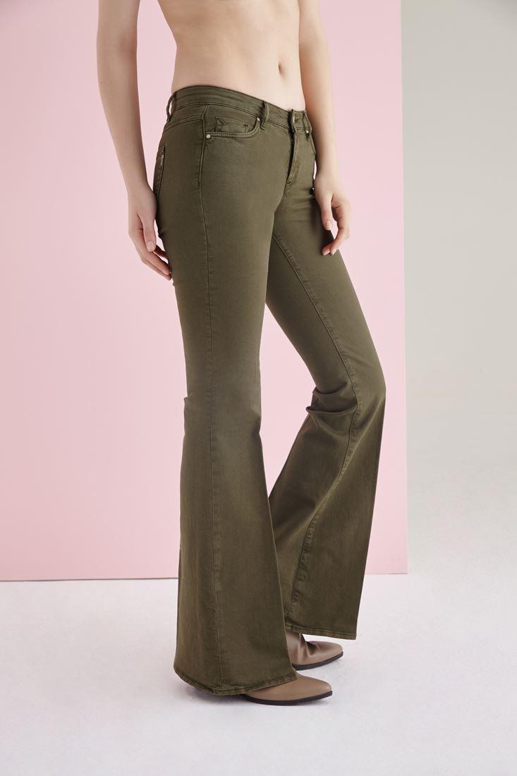 Bayan Yeşil İspanyol Paça Düşük Bel Pantolon