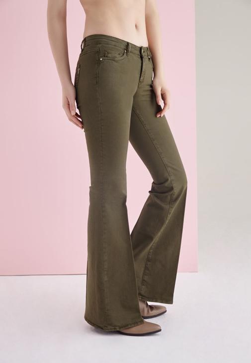 Yeşil İspanyol Paça Düşük Bel Pantolon