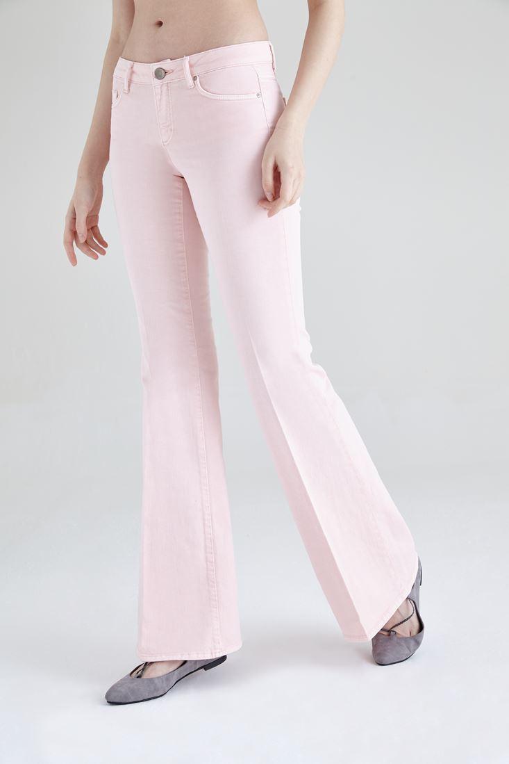 Bayan Pembe İspanyol Paça Düşük Bel Pantolon