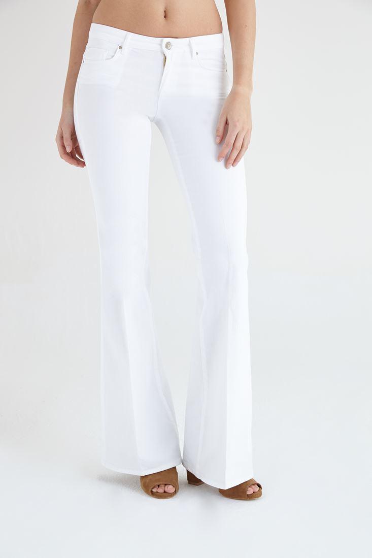 Bayan Beyaz İspanyol Paça Düşük Bel Pantolon