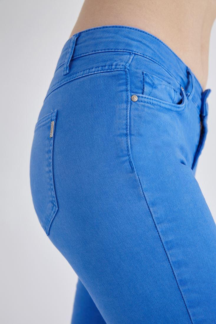 Bayan Mavi Düşük Bel Slim Paça Pantolon