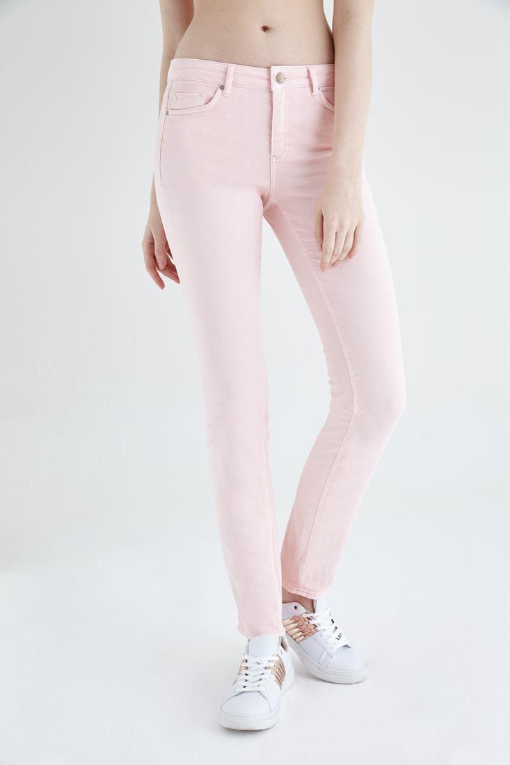 Bayan Pembe Düşük Bel Slim Paça Pantolon