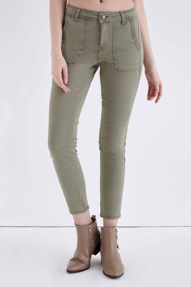 Bayan Yeşil Cep Detaylı Düşük Bel Pantolon