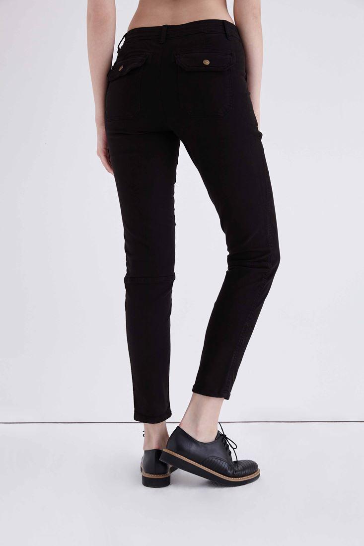 Bayan Siyah Cep Detaylı Düşük Bel Pantolon