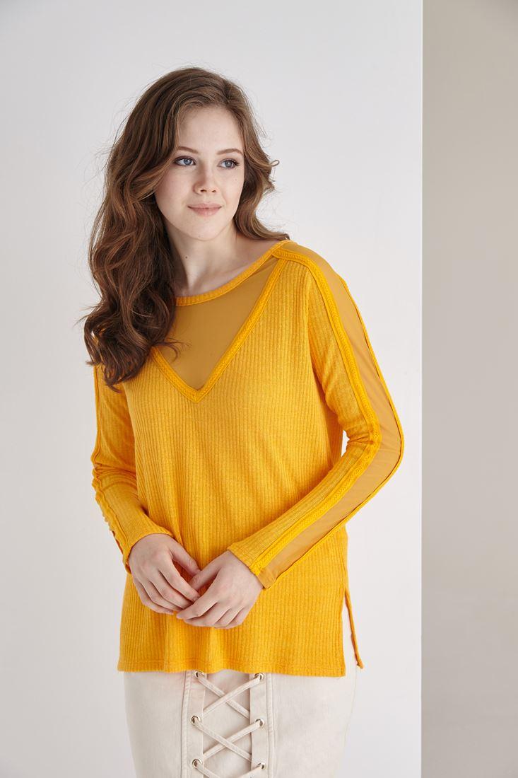 Sarı Kolları Transparan Detaylı Bluz