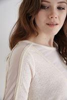 Bayan Beyaz Kolları Transparan Detaylı Bluz