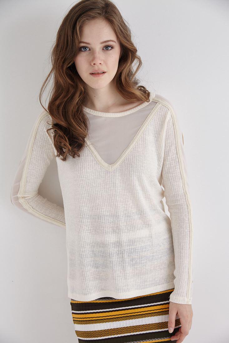 Bayan Krem Kolları Transparan Detaylı Bluz