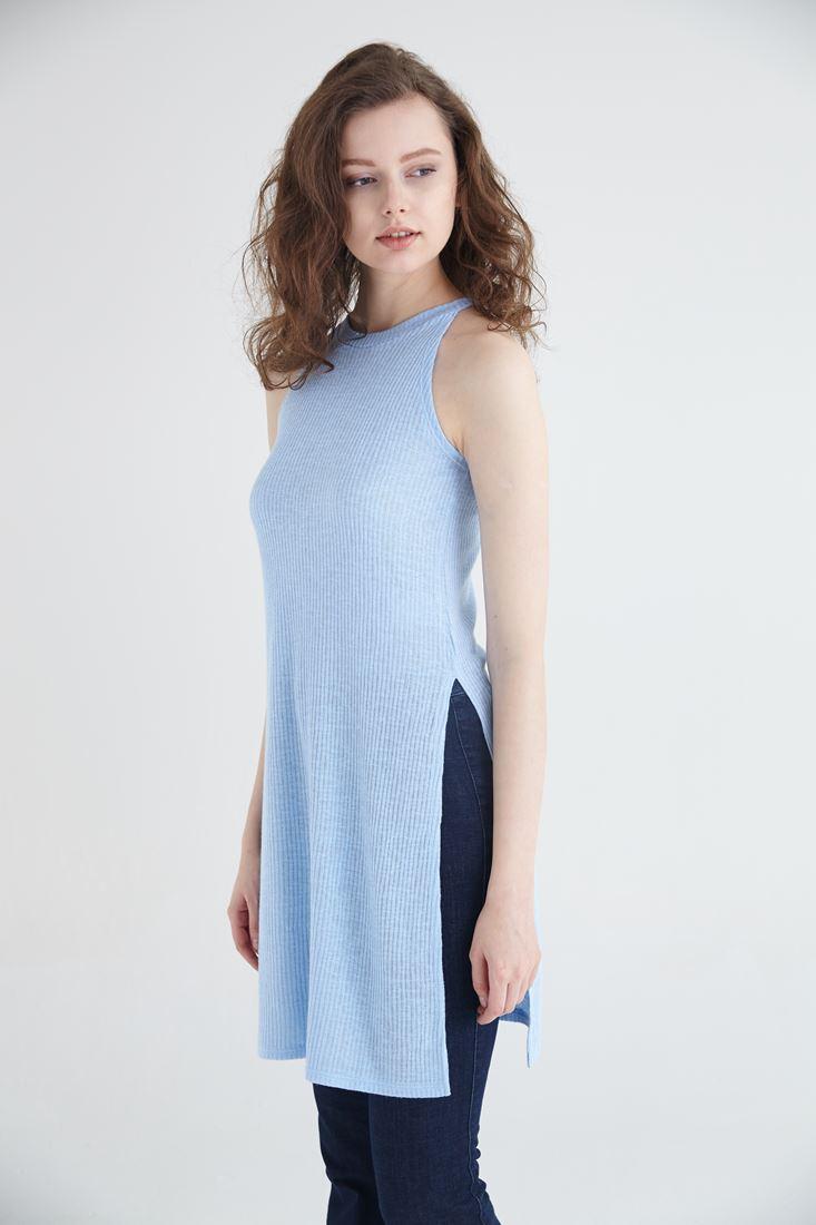 Mavi Uzun Yırtmaçlı Bluz