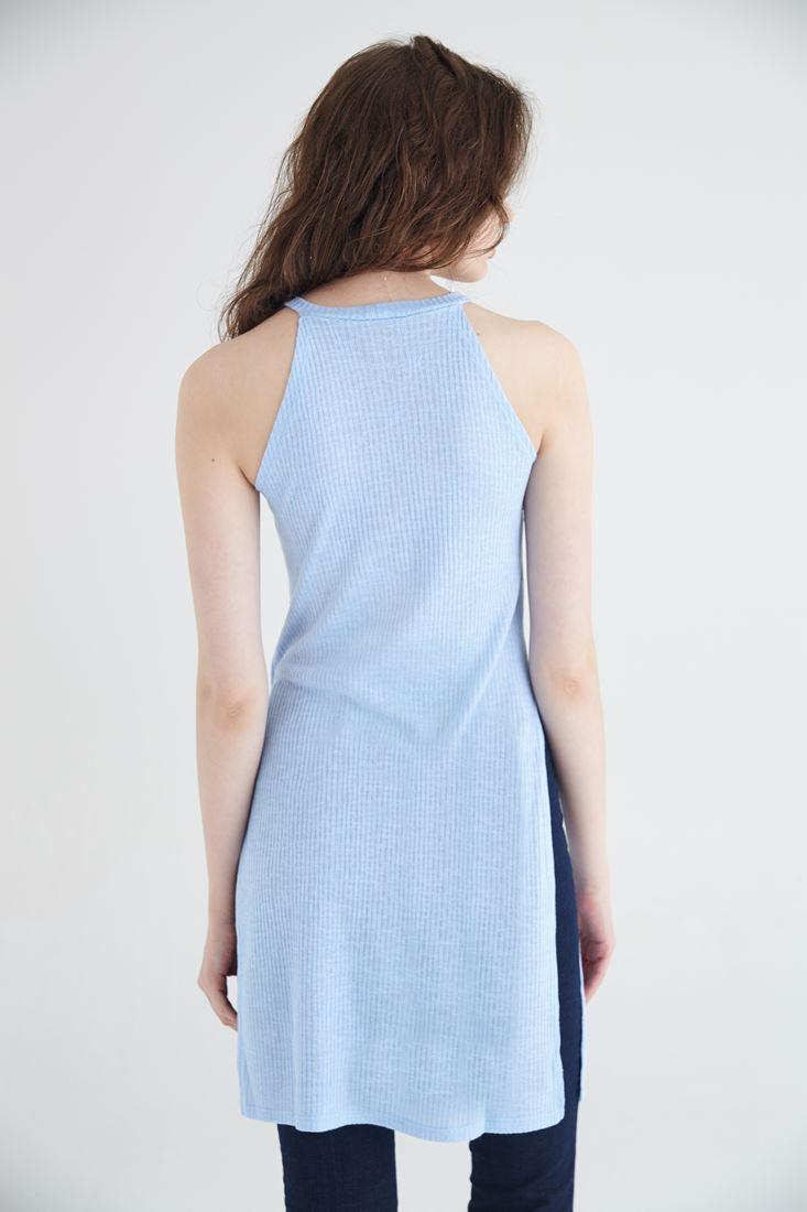 Bayan Mavi Uzun Yırtmaçlı Bluz
