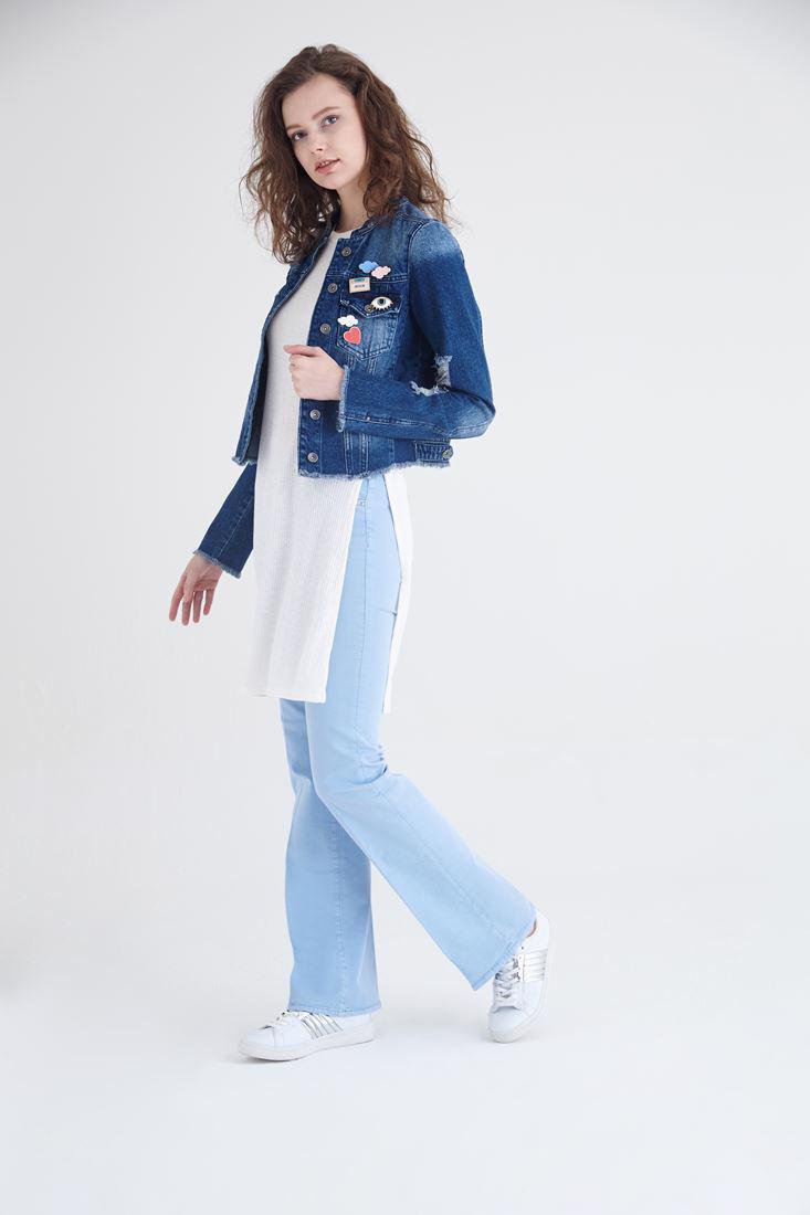 Bayan Krem Uzun Yırtmaçlı Bluz