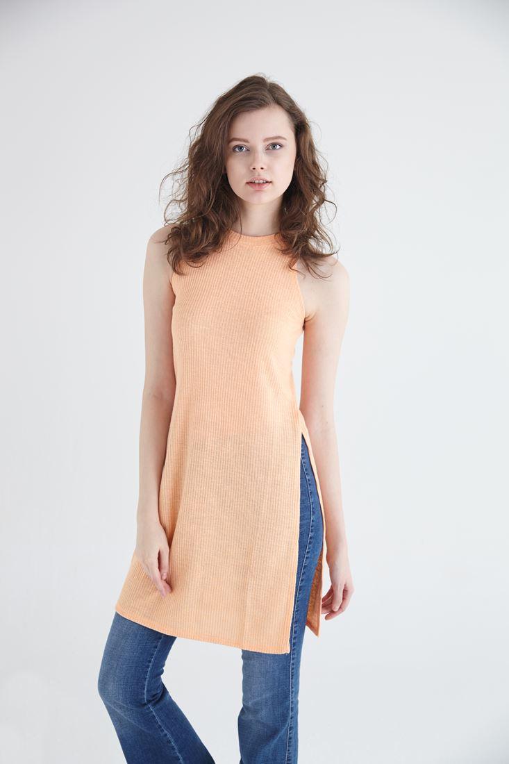 Bayan Pembe Uzun Yırtmaçlı Bluz
