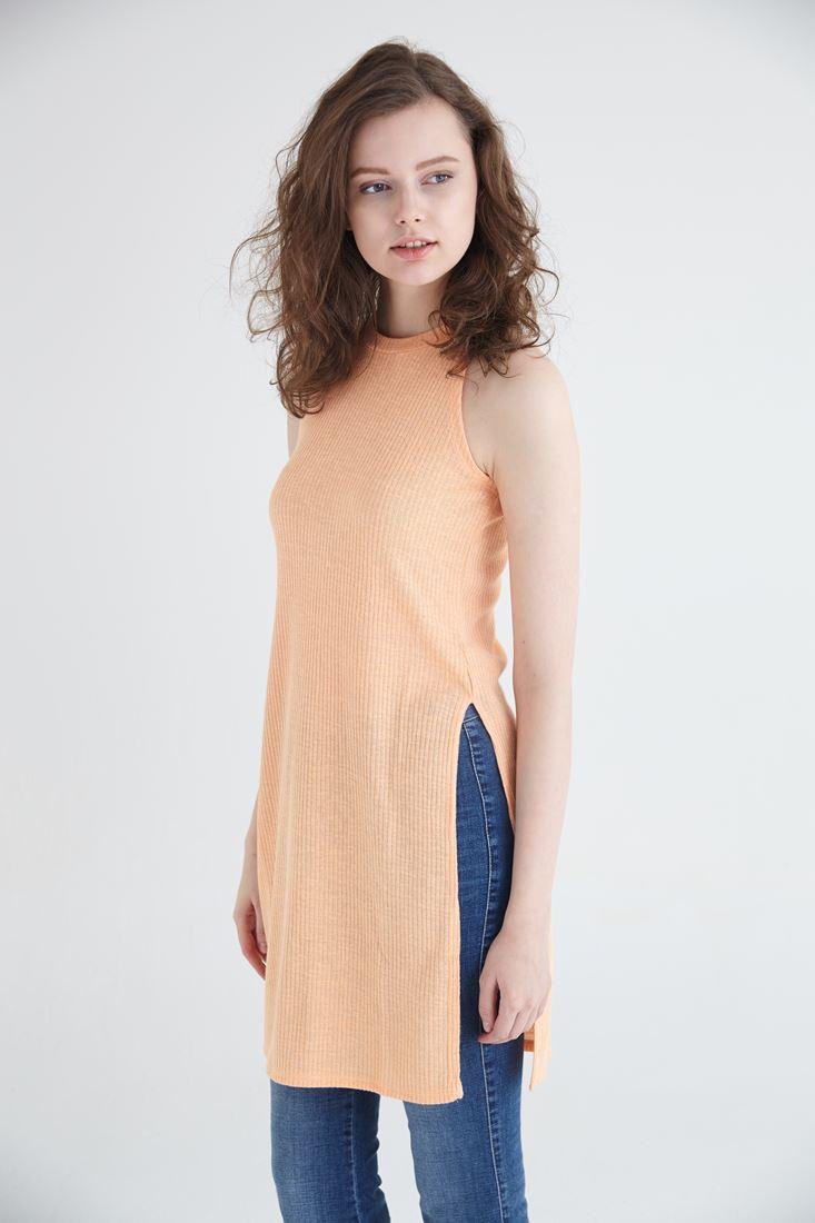 Bayan Turuncu Uzun Yırtmaçlı Bluz