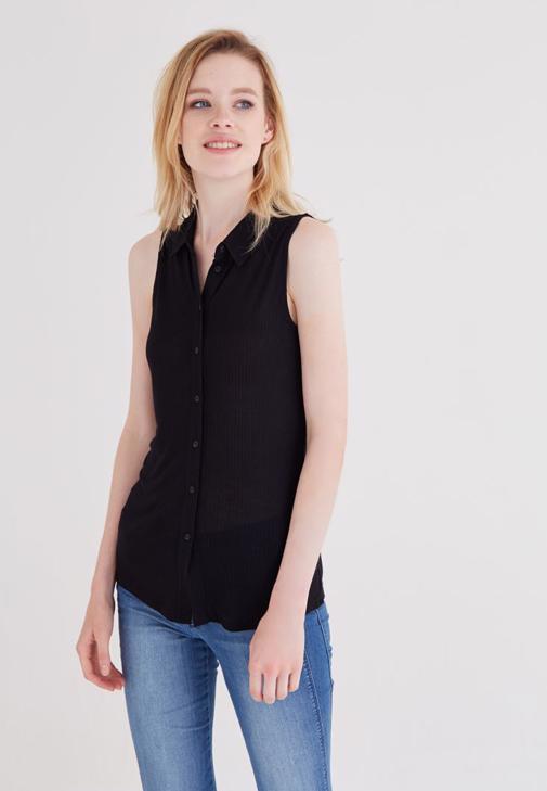 Siyah Kolsuz Gömlek