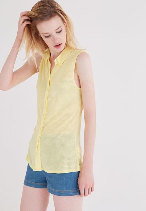 Sarı Kolsuz Gömlek