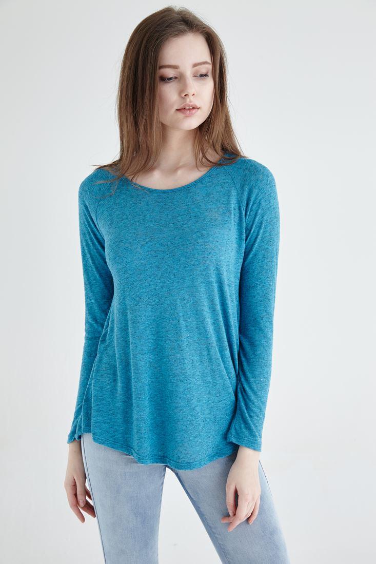 Mavi Sırt Dekolteli Bluz