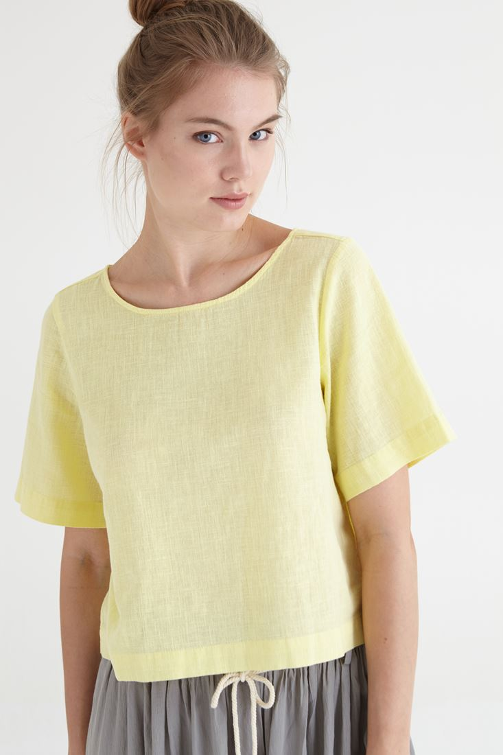 Bayan Sarı Keten Bluz