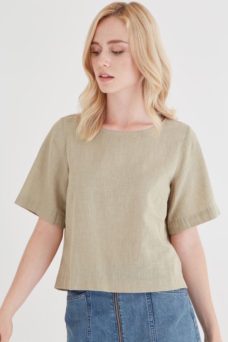 Bayan Yeşil Keten Bluz