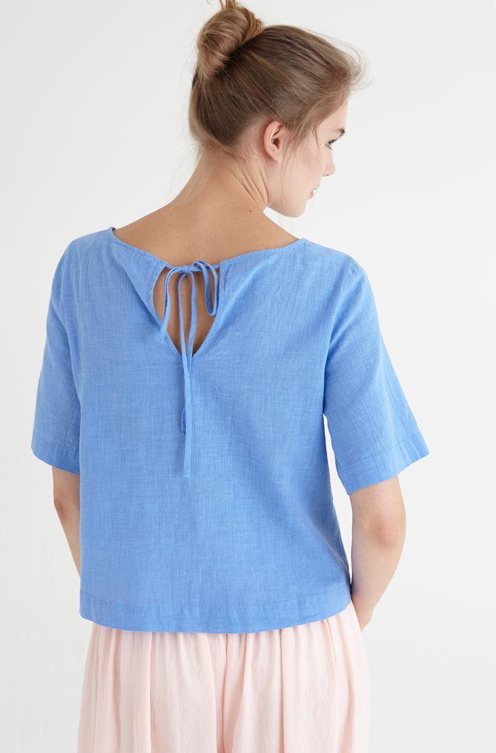 Bayan Mavi Keten Bluz