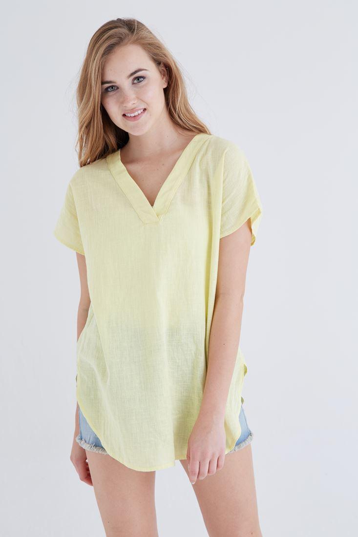 Bayan Sarı V Yaka Keten Bluz