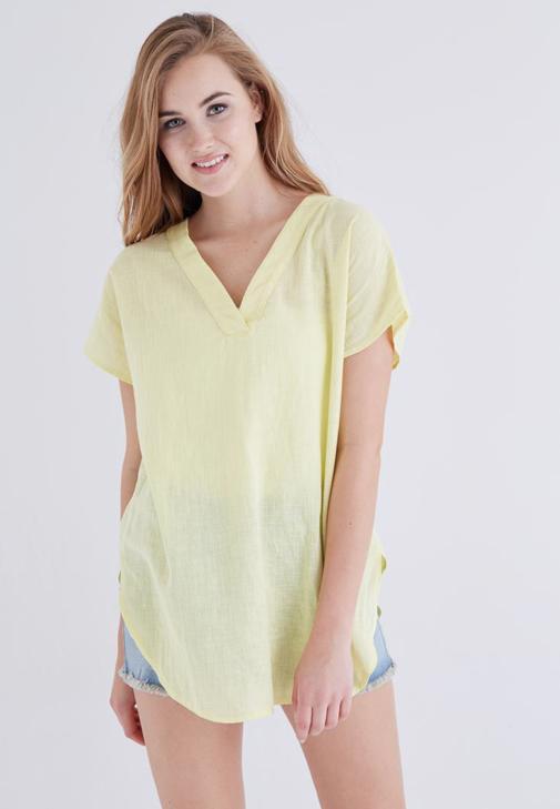 Sarı V Yaka Keten Bluz