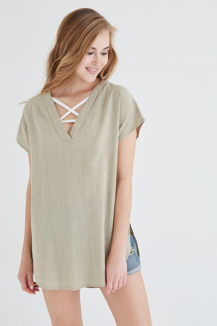 Bayan Yeşil V Yaka Keten Bluz