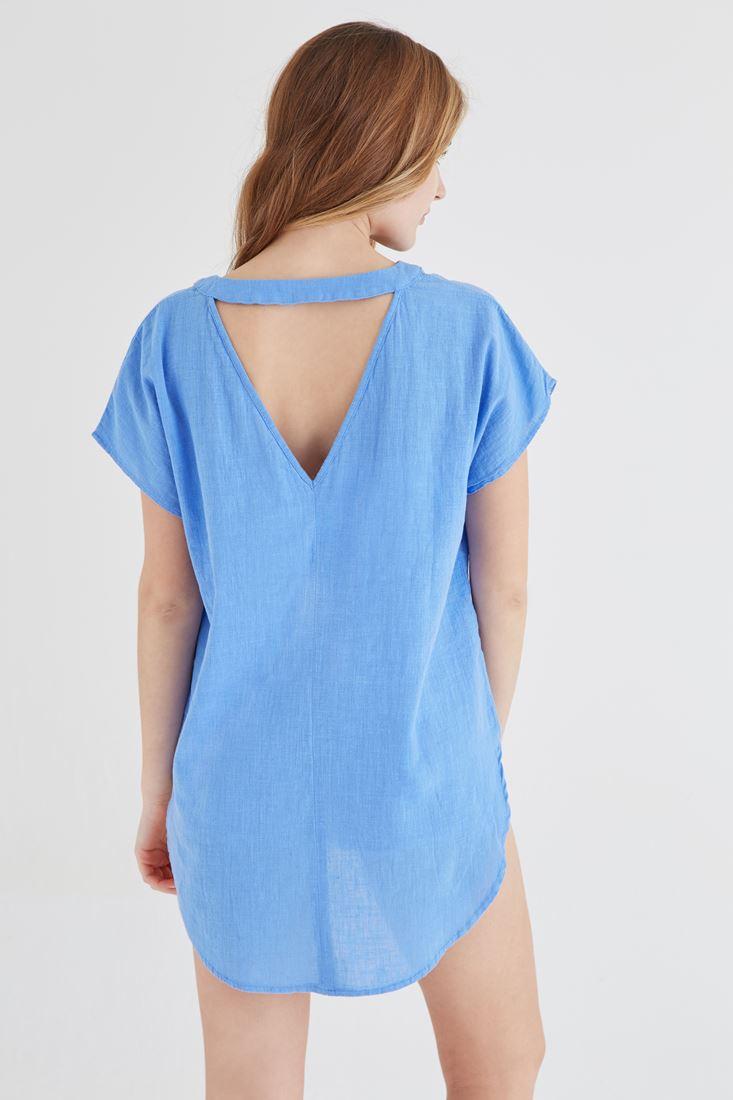 Bayan Mavi V Yaka Keten Bluz
