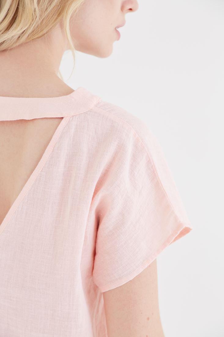 Bayan Pembe V Yaka Keten Bluz