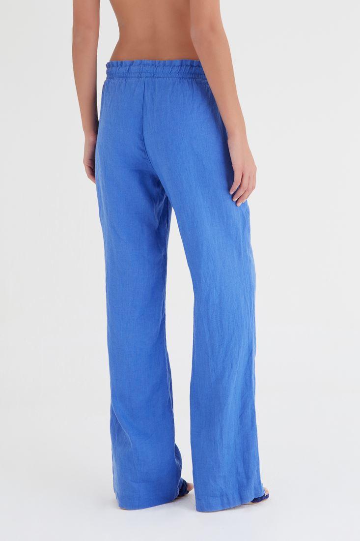 Bayan Mavi Keten Pantolon