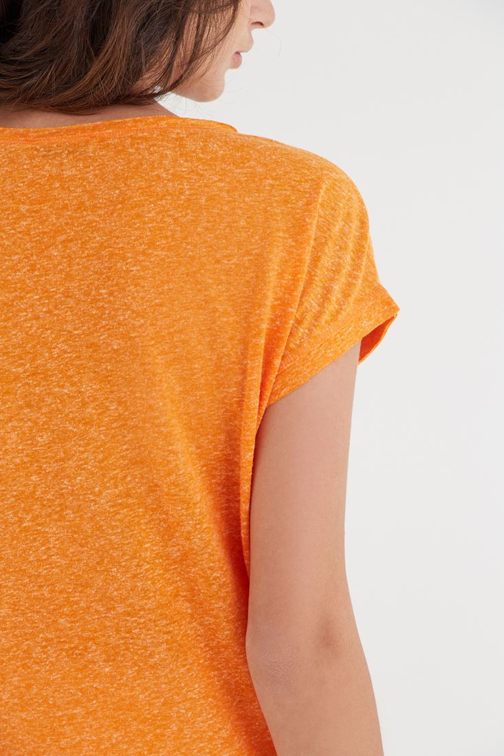 Bayan Turuncu Nakışlı Tişört