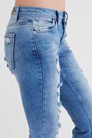 Bayan Mavi Paçaları Püsküllü Jean