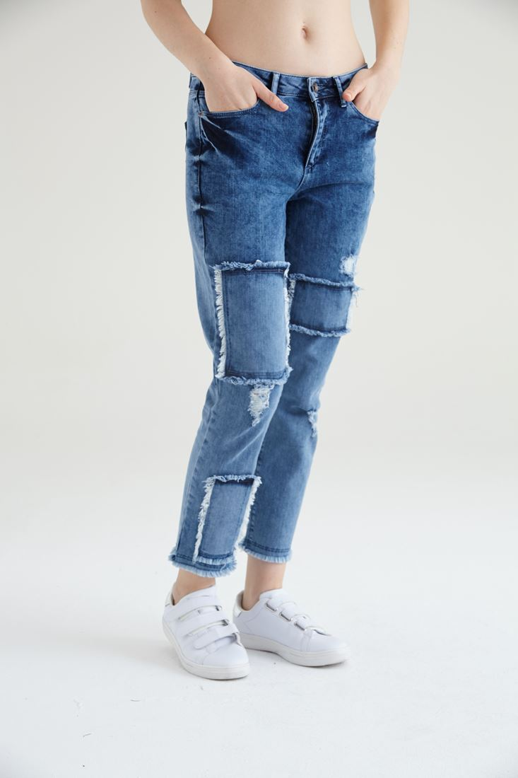 Mavi Yama Detaylı Boyfriend Kot Pantolon