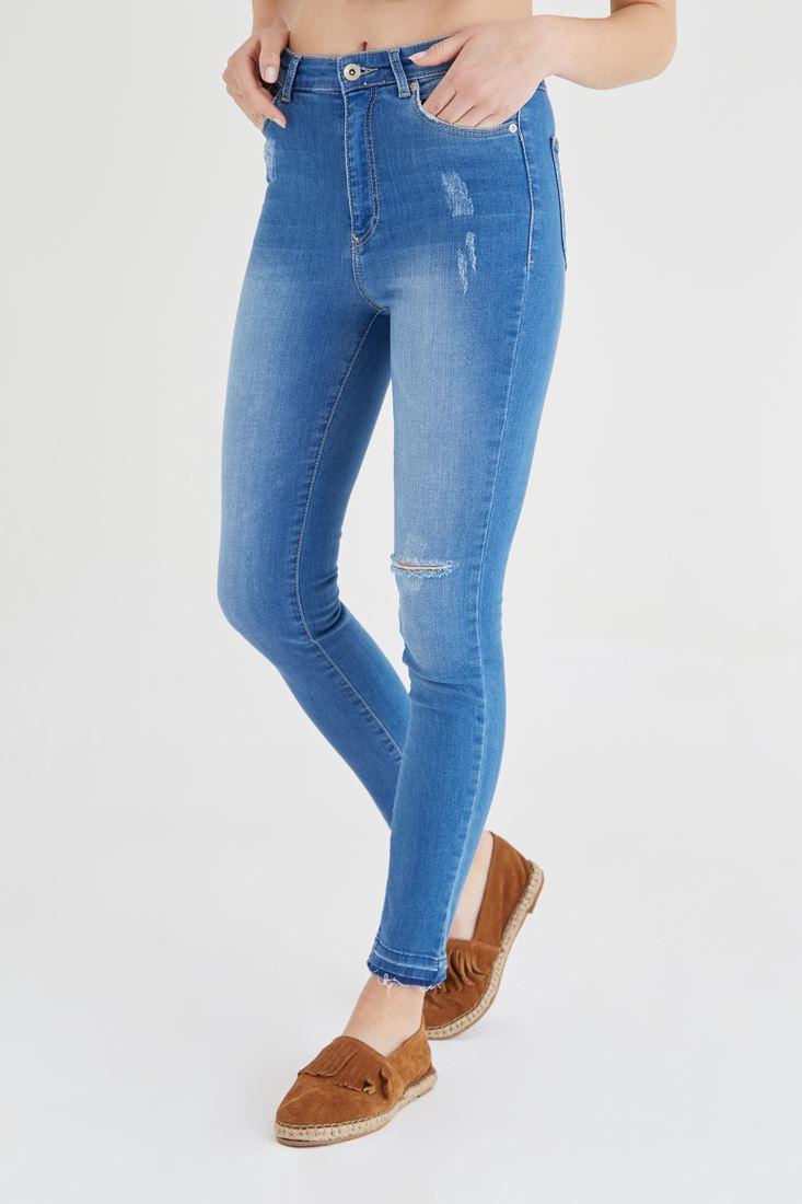 Mavi Yüksek Bel  Yırtık Jean