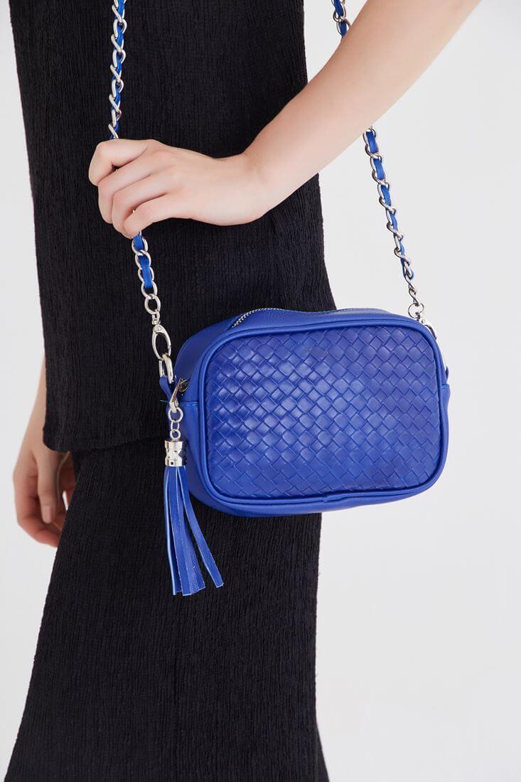 Mavi Püskül Detaylı Çanta