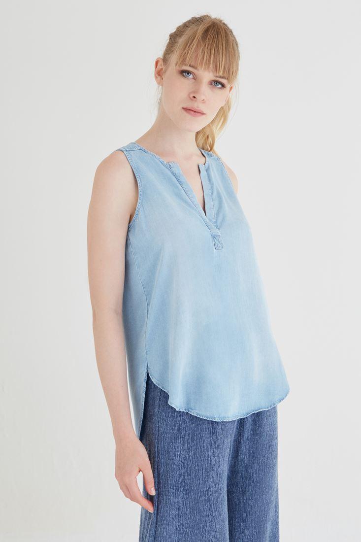 Bayan Mavi Denim Bluz
