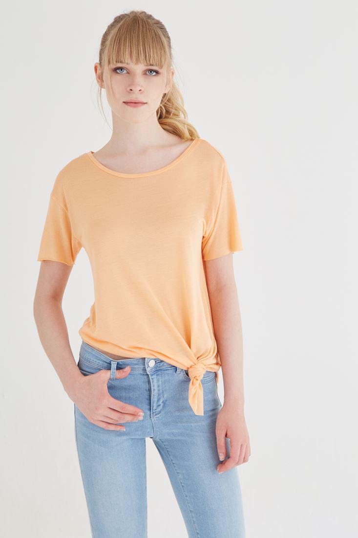 Bayan Turuncu Asimetrik Kesimli Tişört