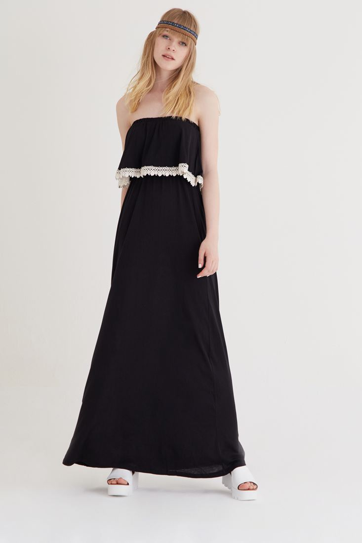 Bayan Siyah Straplez Elbise