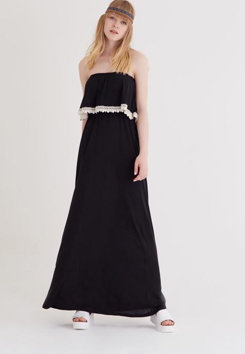 Siyah Straplez Elbise