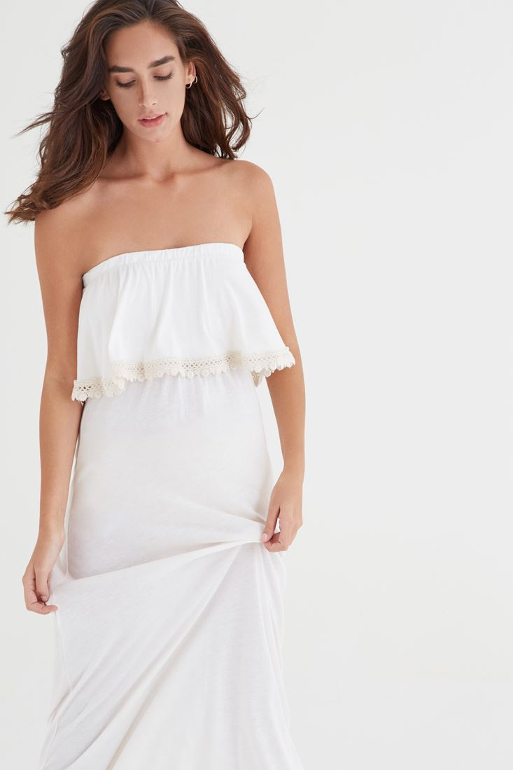 Bayan Krem Straplez Elbise